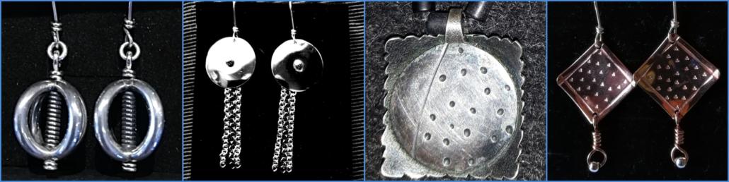 En rekke smykker - ørepynt i sølv